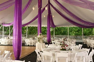 White and purple themed outdoor wedding reception.