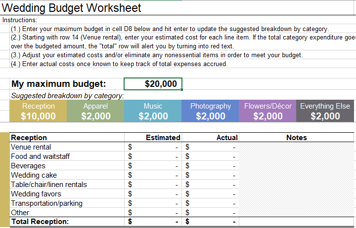wedding budget worksheet little wedding guide
