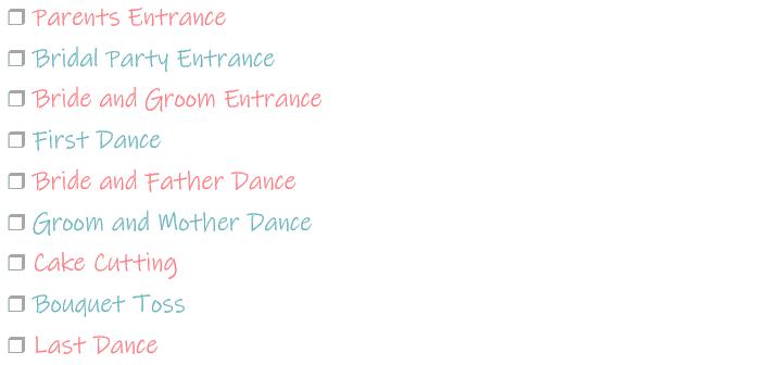Wedding Reception Music Checklist